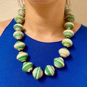 Jewelry - 💚Green💚 & White Uganda Ekisa Paper Bead Necklace